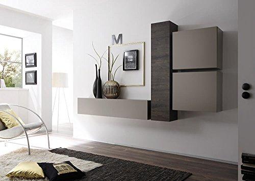 Sodani parete attrezzata mobili salotto 4 mobili sospesi 169x244x31cm cube grigio opaco e quercia wengè