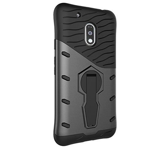 Für Moto G4 Play Case Neue Rüstung Tough Style Hybrid Dual Layer Rüstung Defender Soft TPU / PC Rückseitige Abdeckung Fall mit 360 ° Stand [Shockproof Case] ( Color : Gold ) Black