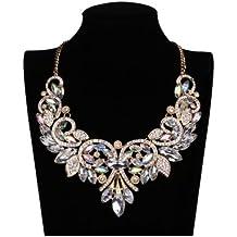 gargantilla - TOOGOO(R) Gargantilla de flor de cristal del arco iris brillante Collar de declaracion grande cadena elegante