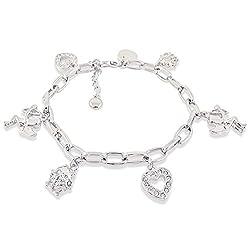 nobel-schmuck Bettelarmband Schutzengel mit Kristallen von Swarovski® Silber