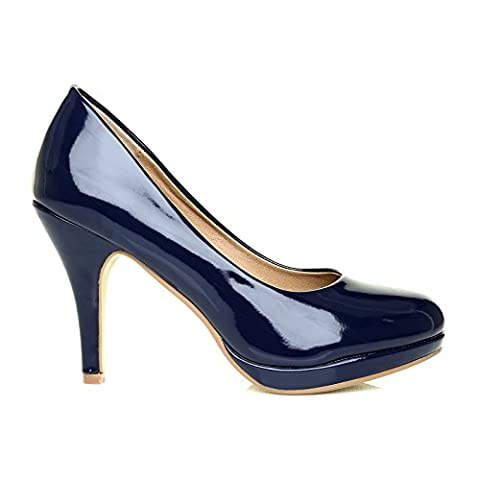 CHIP Navy Patent Leather Pumps Mid-High Heel Low Platform Office Court Shoes Size UK 6 EU 39