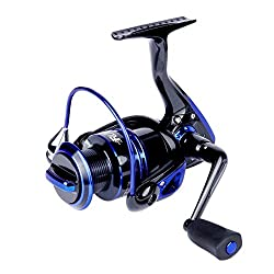 Runcl Spinning Reel Keen Ⅱ 4000, Fishing Reel Leftright Interchangeable Collapsible Handle 5.5:1 Gear Ratio 6+1 Ball Bearings Freshwater Saltwater Boat Fishing(blue)