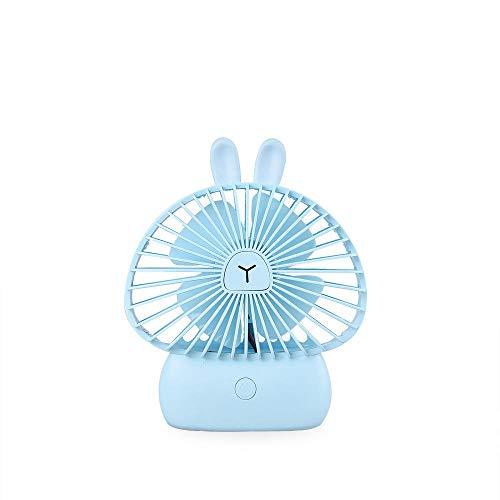 CHOUJJ USB-Fan Mini-Fan tragbare Karikatur Kleiner Fan USB-Aufladung Mini-Handheld-Fan niedlichen kleinen Tier Fan Geschenk@Pilz Hase - Blau_Produktgröße: 121x33x146mm