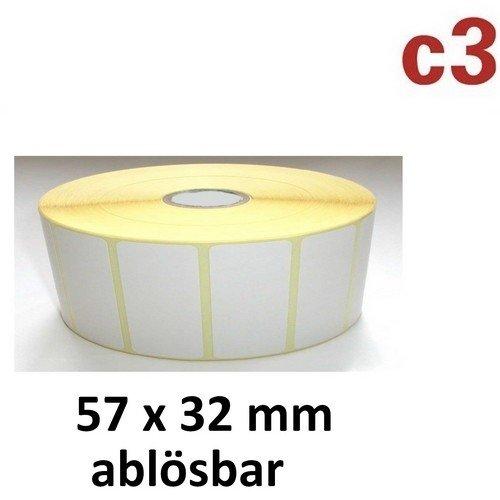Preisvergleich Produktbild 57x32 mm ThermoEtiketten ABLÖSBAR Rolle mit 2.100 Etiketten Zebra ,Citizen,Intermec, TEC