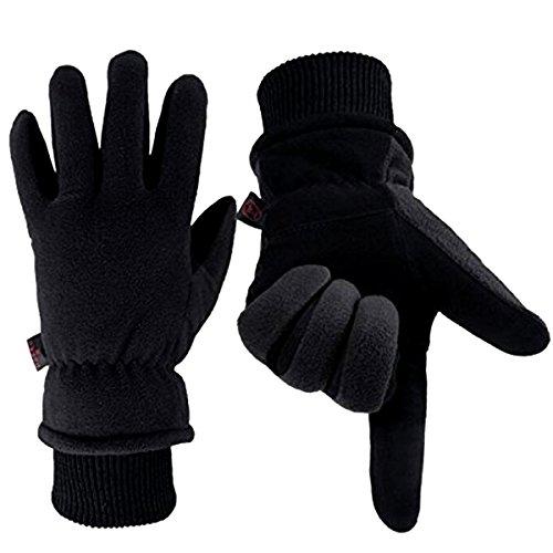 Winterhandschuhe Warme Skihandschuhe 3M Rutschfeste Unisex Warme Handschuhe Hirschlederwolle für Motorschlitten Motorrad und Kaltes Wetter...