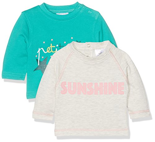 Twins Baby-Mädchen Sweatshirt 2er Pack, Mehrfarbig (Weiss/Grün), 80