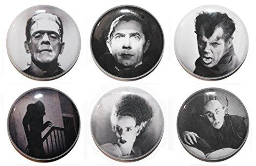 - Button (Button Zombie Button Buttons, klassisch, Horror-Film, 25 mm, hergestellt in Großbritannien, 6 Stück)