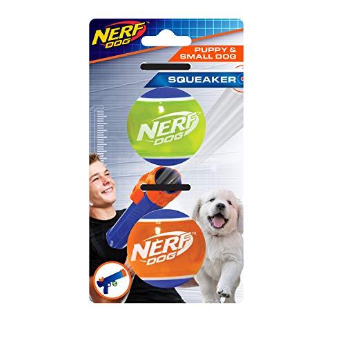 Nerf Dog TPR-Tennisbälle für Kleine Hunde und Welpen, geeignet Tennisball Blaster für Kleine Hunde und Welpen, 2 Stück