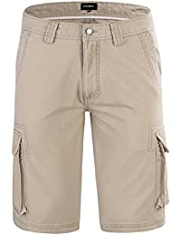 JINSHI Hombre Pantalones Cortos Cargo de Algodón