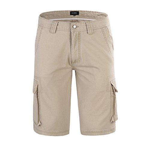 Krumba Herren Baumwolle Draussen Beiläufig Ladung shorts Khaki Größe 42 (Khaki Golf-short)