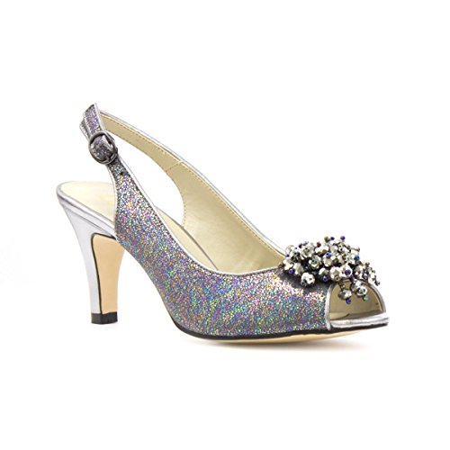 Lotus Womens Pewter Peeptoe Slingback Shoe - Size 4 UK - Multicolour