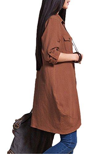 Vogstyle Damen Herbst beiläufige Patchwork Shirt Mit Brust Buttons Khaki