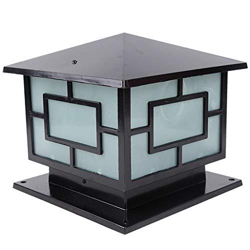 DLINMEI China traditionelle quadratische Pfosten-Licht wasserdichte Spalten-Säulen-Scheinwerfer für Tor-Landhaus-Pool-Terrassen-Zaun-Laterne im Freien (Color : Black) -