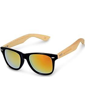 Navaris Gafas de sol Wayfarer UV400 - Gafas de madera para hombre y mujer - Gafas con patillas de madera en diferentes...