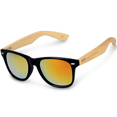 Navaris Wayfarer Sonnenbrille UV400 - Damen Herren Holz - Brille mit Bambus Bügeln - Holzbrille mit Etui - unterschiedliche Farben