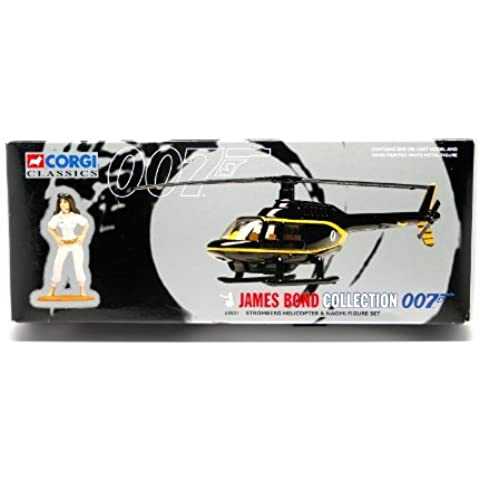 STROMBERG HELICOPTER & NAOMI FIGURE SET * THE SPY WHO LOVED ME * 1997 Corgi Classics Special Edition James Bond Collection Die-Cast Vehicle & White Metal Figure by James Bond