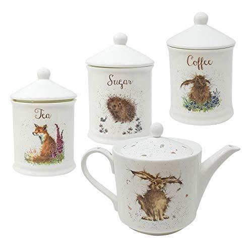 4 Pce Verpackt Wrendale Feine Porzellan Teekanne Kaffee Zucker Tee Dose Behälter -