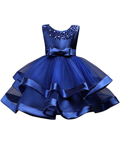 Mädchen Tüll Brautjungfern Anlässe Festkleid Blumenmädchen Blaukleid Festzug Dunkelblau 150