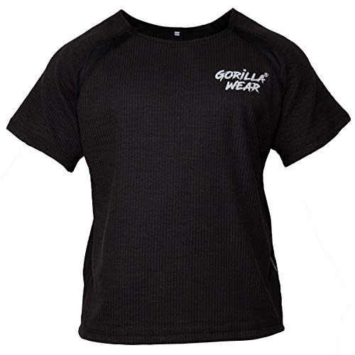 Gorilla Wear Bodybuilding T-Shirt - Old School Work Out Top Herren - Augustine Rag Top Schwarz L/XL