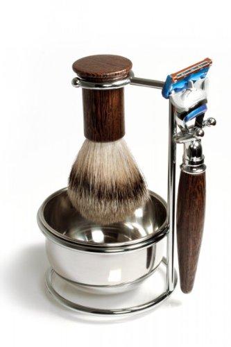 RAZZOOR 4-teiliges Rasierset Wengeholz für Gillette FUSION Rasierklingen - inklusive Halter mit Schale, glanzverchromt + Rasierpinsel Set Dachshaar Silberspitz für die Nassrasur