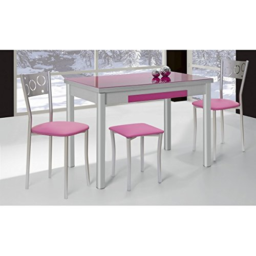 Mesa de cocina extensible 100x60 cm con dos alas y tapa de cristal ...