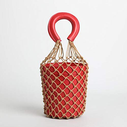 MYYDD Angeln Netzbeutel Netztasche Gewebte Tasche Eimer Tasche Leder Handtasche Kleine Tasche,Red (Red Angel Kostüme)