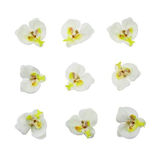 Seiden-Phalaenopsis Blumenköpfe Fake Schmetterling Orchideenkopf Blumenstrauß für Handwerk Hochzeit Dekoration DIY Brautschmuck Haarspange Stirnbänder Fotografie Requisiten weiß ()