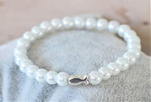 Armband perlmutt weiß mit Fisch in silber farben Kommunion Konfirmation Firmung Perlenarmband Perlen Kommunionsarmband Kind Mädchen Geschenk Fischarmband Taufe