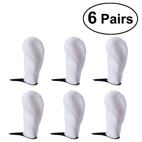 6 Pairs Fluffy Bunny Rabbit Ear Hair Clips Christmas Birthday Party Costume Cosplay Hairpins Headwear Hair Accessories for Kids Adults (White)