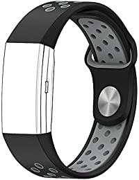 Shopizone® Soft Silicone Sport Replacement Fitness Accessory Strap Wristband for Fitbit Charge 2 (Black Grey)