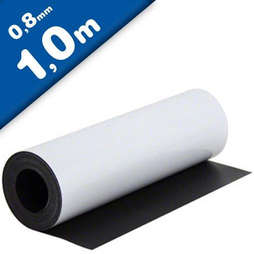 Magnetfolie weiß matt beschichtet 0,8mm x 0,62m x 1m - flexible magnetische Folie, in Digitaldruck bedruckbar, haftet auf allen metallischen Oberflächen