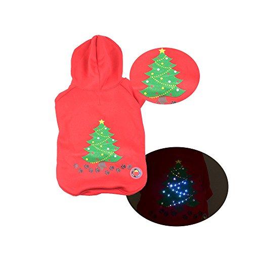 g LED Light Up Kostüm Puppy Kitten Hoodie Pullover Katzen Kostüm Weihnachten Urlaub Geschenke Herbst/Winter Rot (Kitten Katze Kostüm)