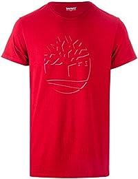 Timberland Mens Dead Reflective T-Shirt In Red- Short Sleeve- Straight Hem-