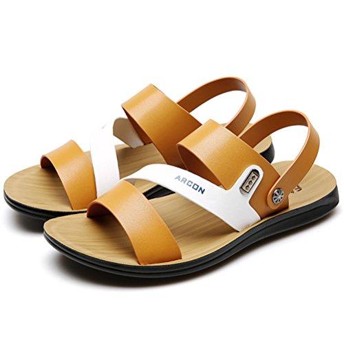 Vogstyle Herren Casual Sandals Offene Schuhe Pantolette Flach Outdoor Sandalen Art 1-Gelb
