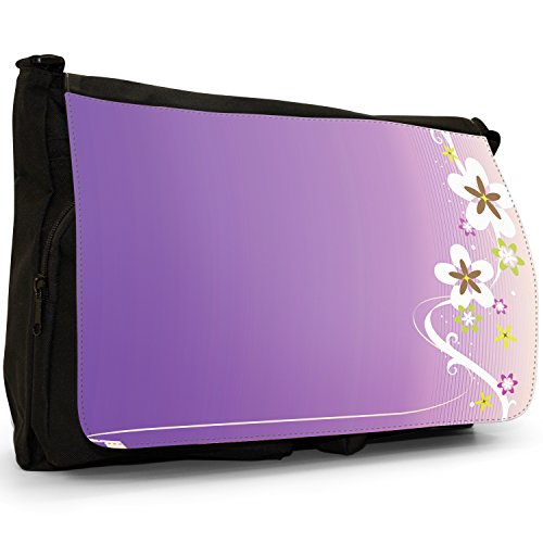 Fancy A Bag Borsa Messenger nero Abstract Red Flowers White Flower Pattern With Swirls on Purple