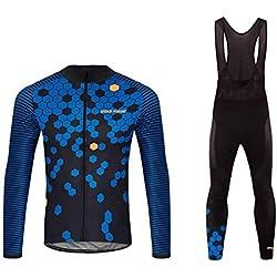 Future Sports UGLYFROG Bike Wear Homme Hiver Vélo Thermique Vêtement Ensemble de Sportswear Costume Maillot Manches Longues Maillot + Pantalon Respirant Séchage Rapide / Corps