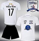 ElevenSports Frankreich Trikot Set 2018 mit Hose GRATIS Wunschname + Nummer im EM WM Weiss Typ #FR11th - Geschenke für Kinder Erw. Jungen Baby Fußball T-Shirt Bedrucken