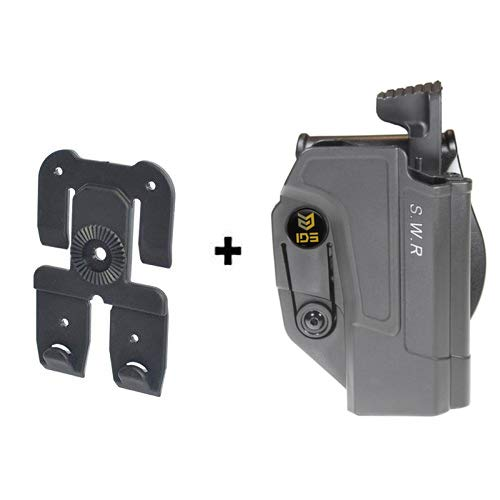 IDS S&W MOLLE Attachment, Tactical Thmub Release Safety 360 roto Retention Adjustment Paddle fits Smith & Wesson M&P 9mm.40cal.22cal & .45cal, M&P M2.0 in 9mm.40cal & .45cal, SD9, SD40, SD9VE