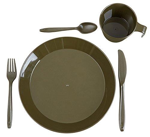 Camping Geschirrset bestehend aus Besteck, Teller und Tasse Oliv Set