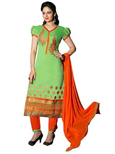 Parrot Green Colour Foux Cotton Semi Party Wear Zari Embroidery Pant Style...