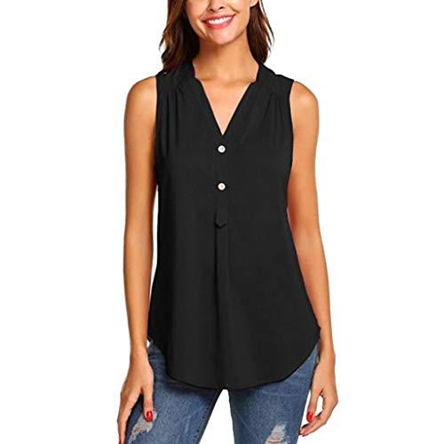 Women Mode V-Ausschnitt Ärmellose Vest Tops Oberteil, JMETRIC Freizeit Ärmellos Tanktops Weste Oben Shirts Bluse Hemd(Schwarz,XL)