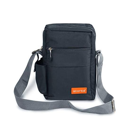 Storite Stylish Nylon Sling Cross Body Travel Office Business Messenger one Side Shoulder Bag for Men Women (25x16x7.5cm) (Dark Grey)