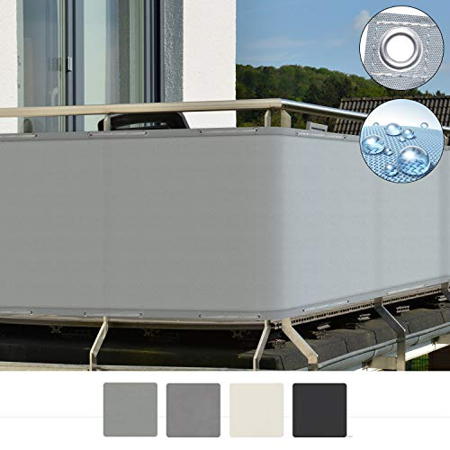 Sol Royal SolVision Balkon Sichtschutz PB2 PES blickdichte Balkonumspannung 90x500 cm - Grau - mit Ösen und Kordel - in div. Größen & Farben