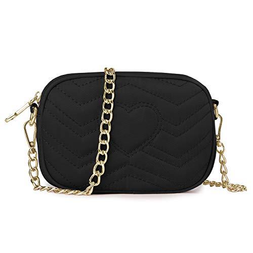 Wind Took Umhängetasche Damen Klein Sling Tasche Vintage Kette Bag Clutch Mini Citytasche für Hochzeit Party Disko, 11.5x17.5x5.5 cm Schwarz