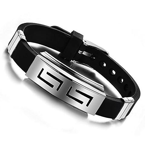 MOWOM Ton d'Argent Noir Acier Inoxydable Bracelet Menotte Grecque