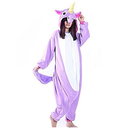 jamas Tier Jumpsuit Erwachsene Fasching Kostüm Unisex Sleepsuit Cosplay Nachtwäsche(XL, Lila) ()