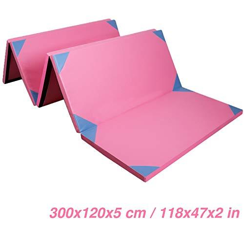 CCLIFE 300x120x5cm Weichbodenmatte Turnmatte Klappbar Gymnastikmatte Farbeauswahl, Farbe:Rosa&Blau, 4-Fach faltbar