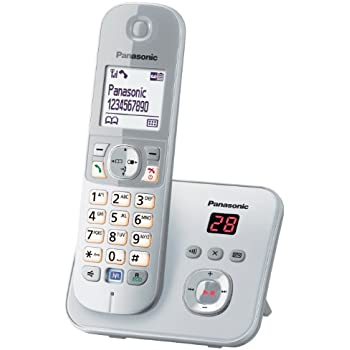 Panasonic KX-TG6821GS DECT-Schnurlostelefon (4,6 cm (1,8 Zoll) Grafik-Display) mit Anrufbeantworter perl-silber
