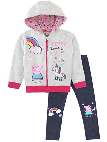 Peppa pig felpe con cappuccio e leggings per ragazze unicorno multicolore 5-6 anni