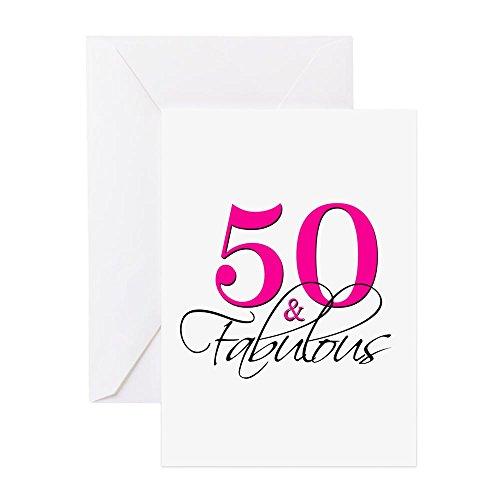 CafePress–50und Fabulous Pink Schwarz Grußkarten–Grußkarte, Note Karte mit Innen blanko,, Geburtstag Karte oder besonderen Anlass Greeting - Geburtstag Pink Einladungen Hot